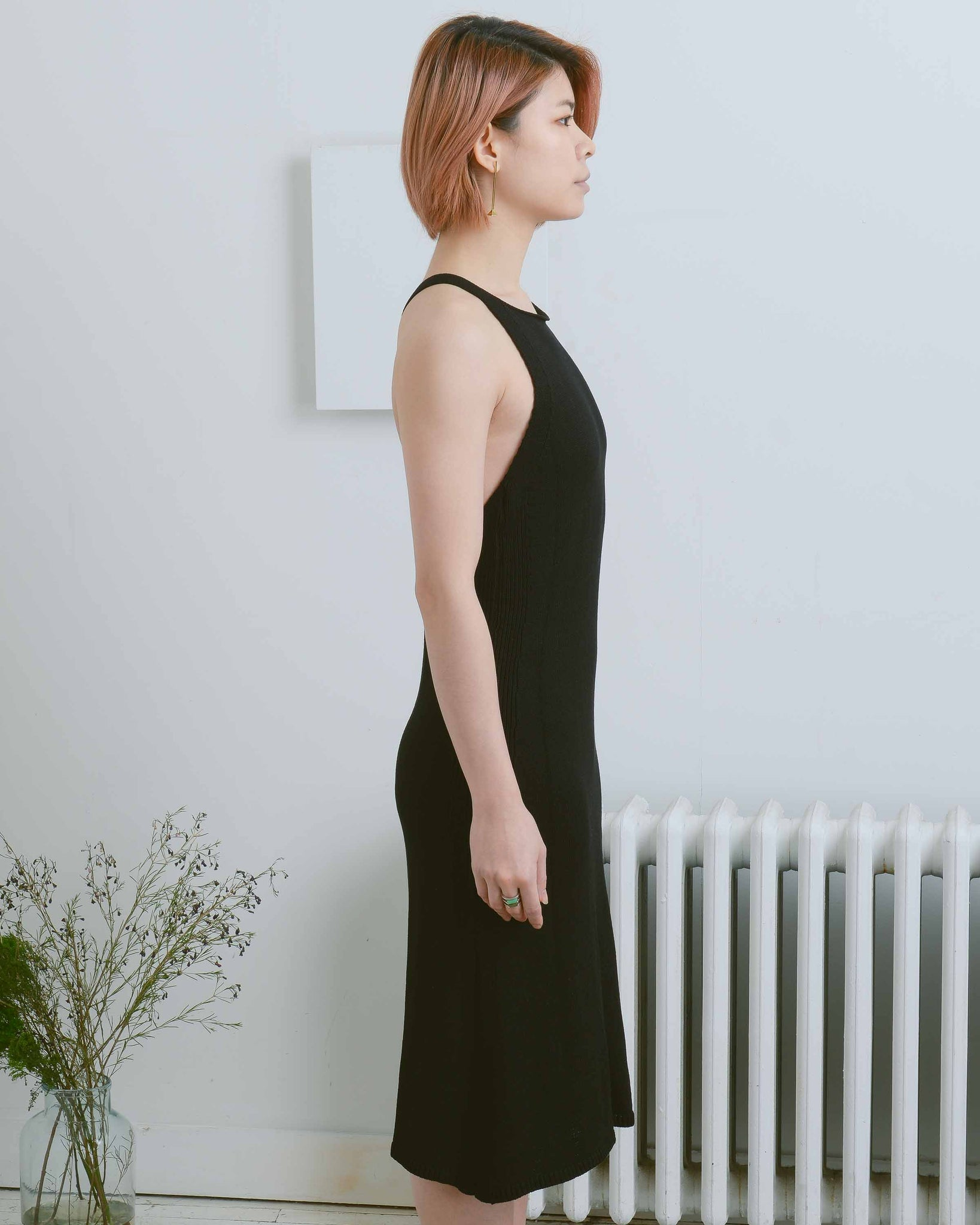 Black Cross Back Knit Dress