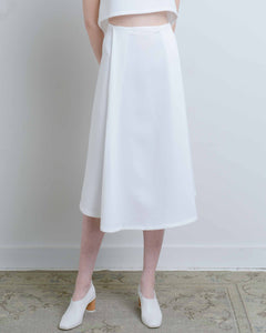 White Stream Deep Pleated Midi Skirt