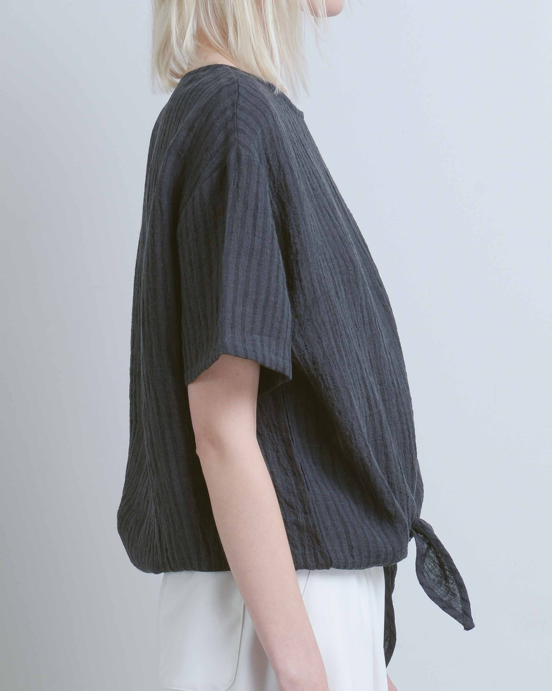 Charcoal Stripe Loose Tie Tee
