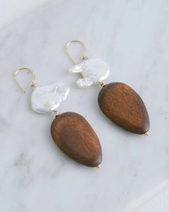 Pearl & Wood Willemina Earrings