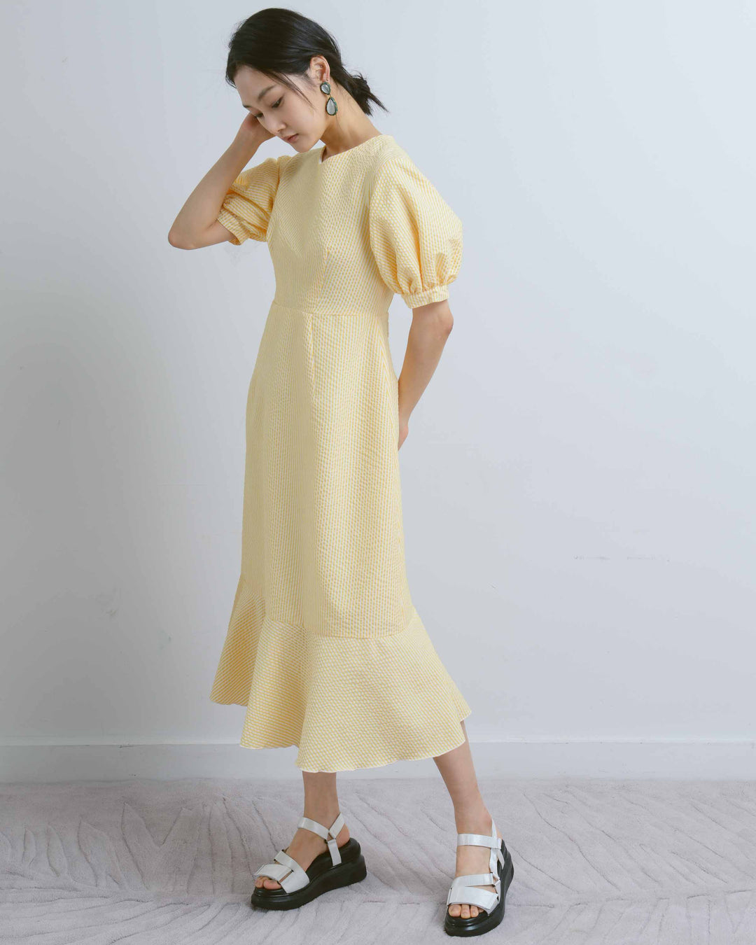 Yellow Seersucker Puff Sleeve Dress