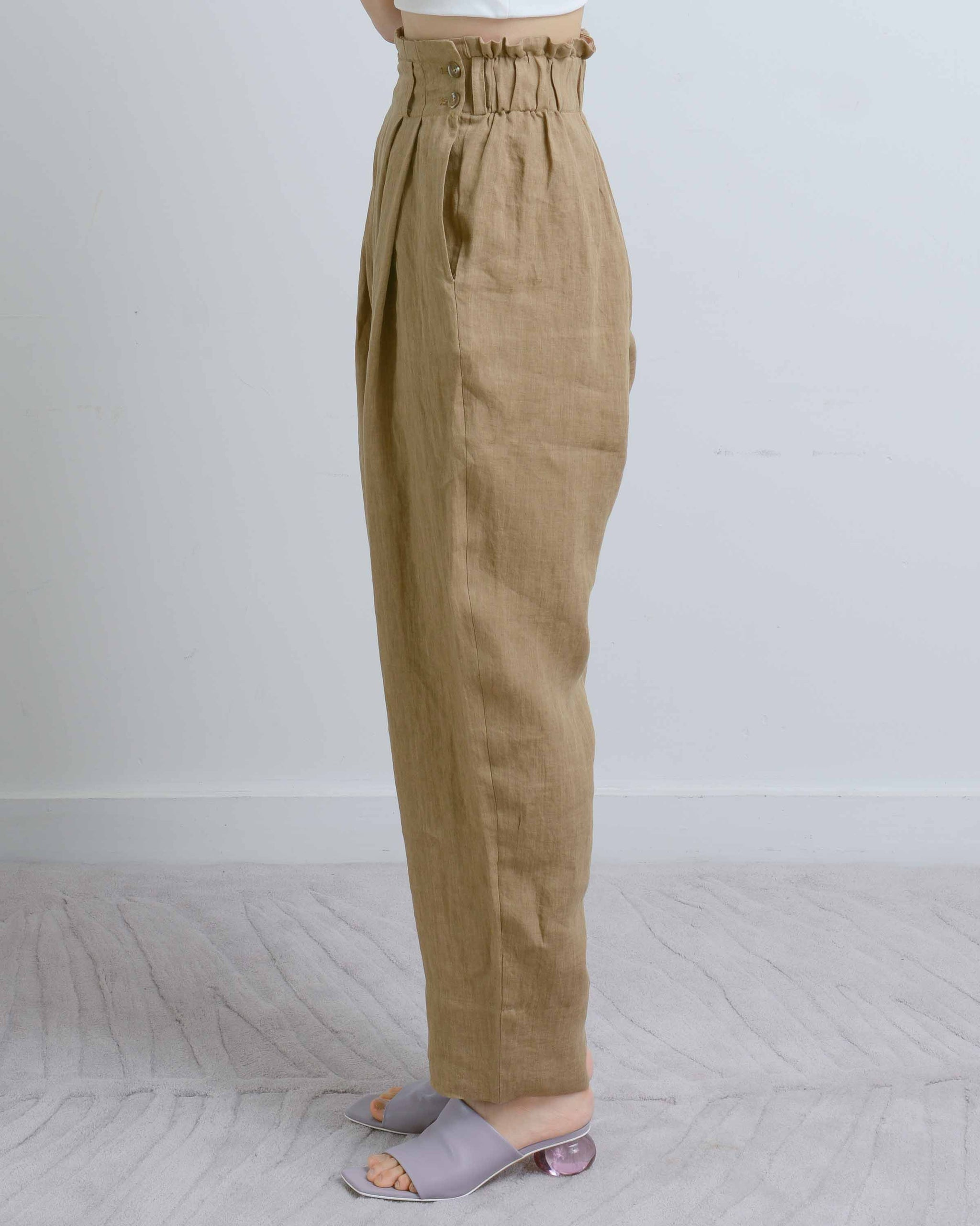 Dark Beige Linen Peg Leg Pants
