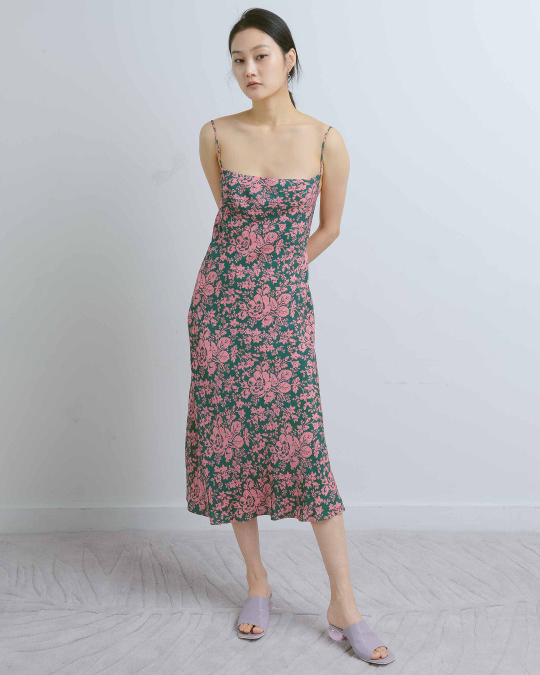 Pink & Green Tea Length Camellia Dress