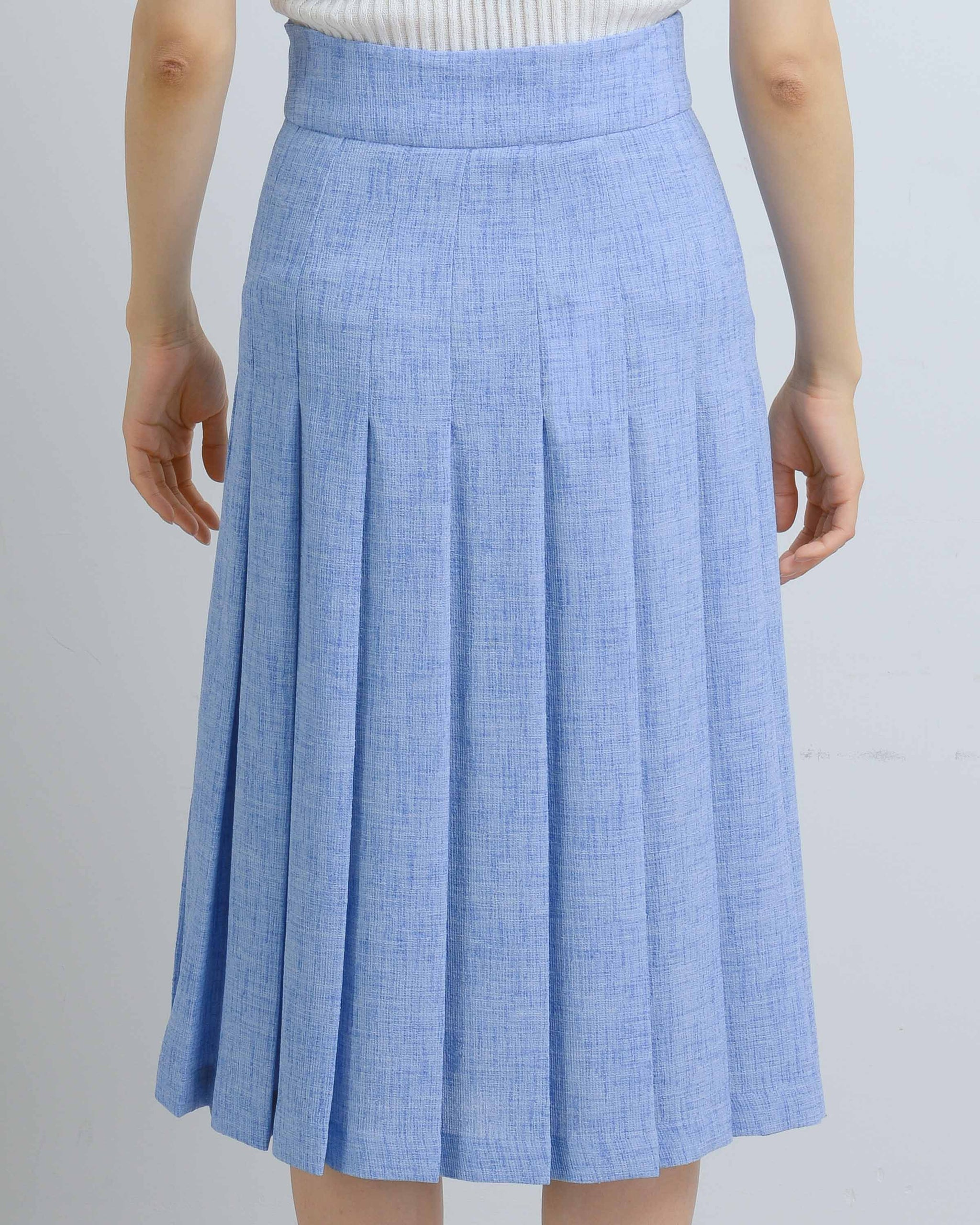 Cobalt/White Midi Pleated Skirt