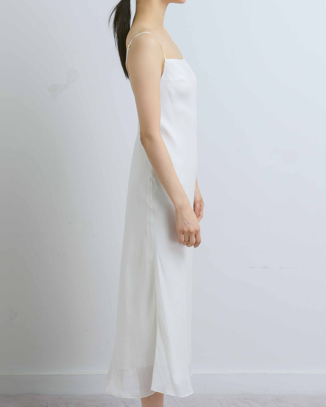 White Tea Length Camellia Dress