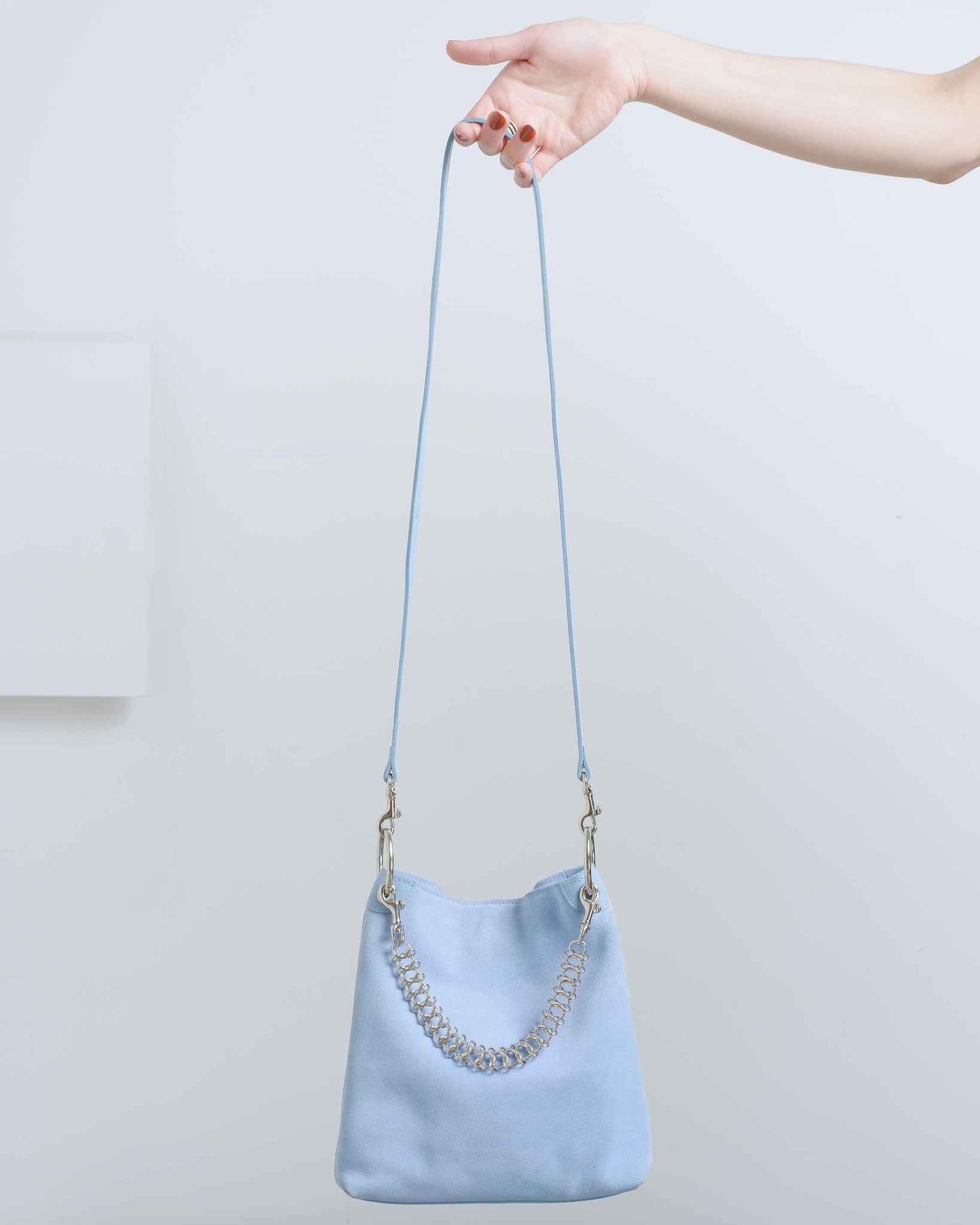 Powder Blue Suede Candy Bag