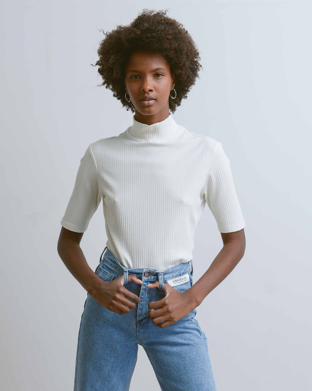 White Rib Short Sleeve Turtleneck