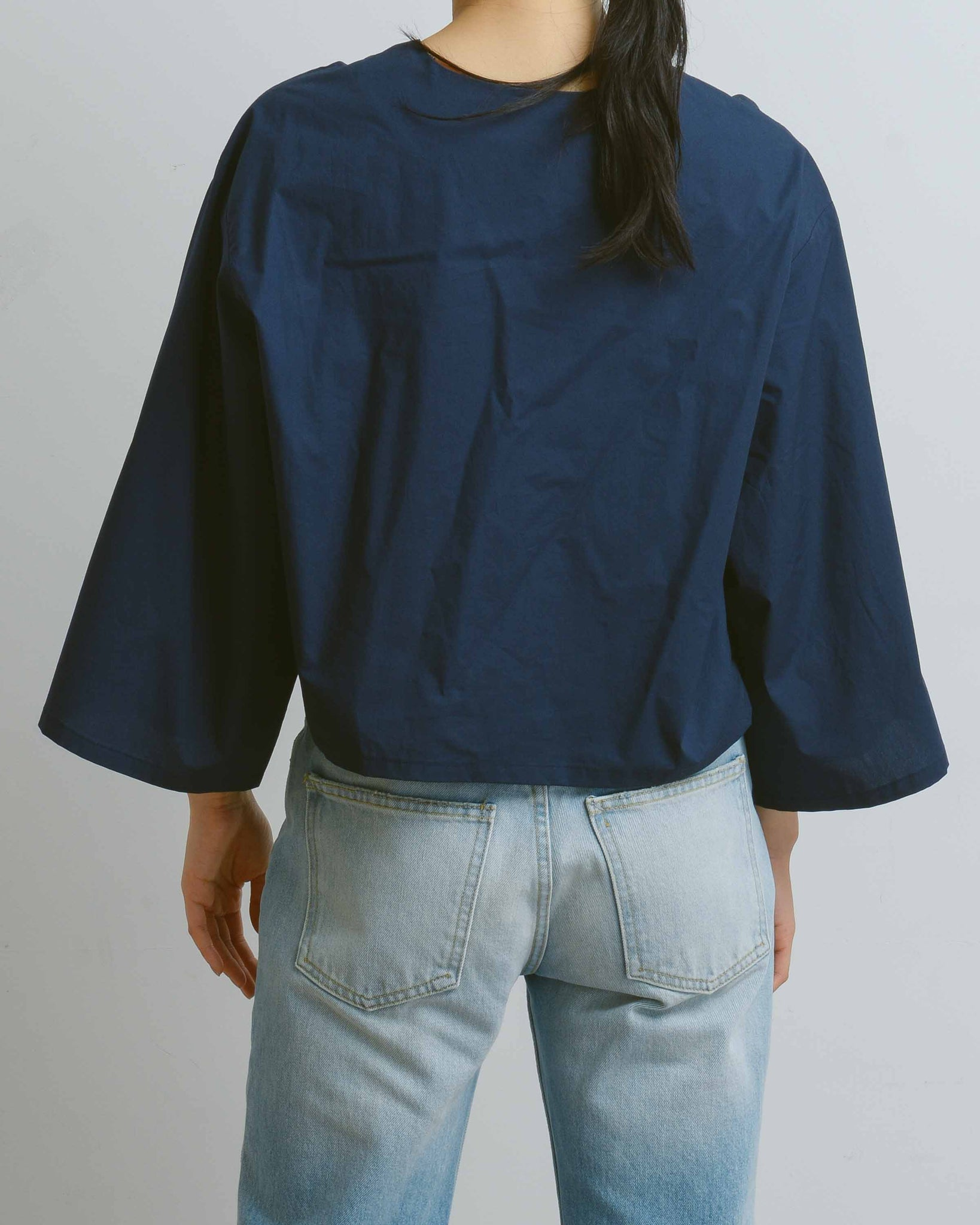 Navy Gathering Blouse