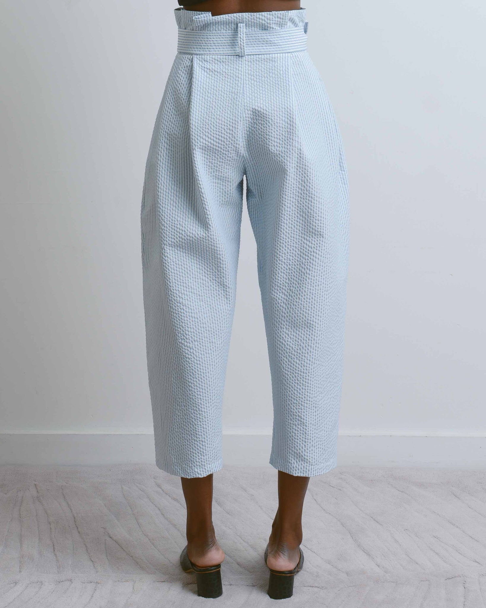 Blue Seersucker Balloon Pant