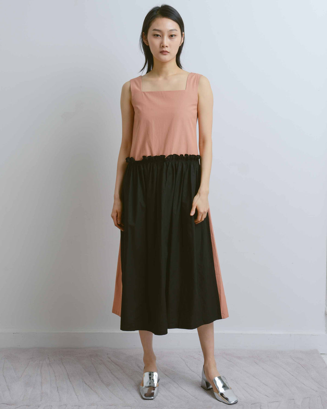 Toast & Black Apron Shirring Dress