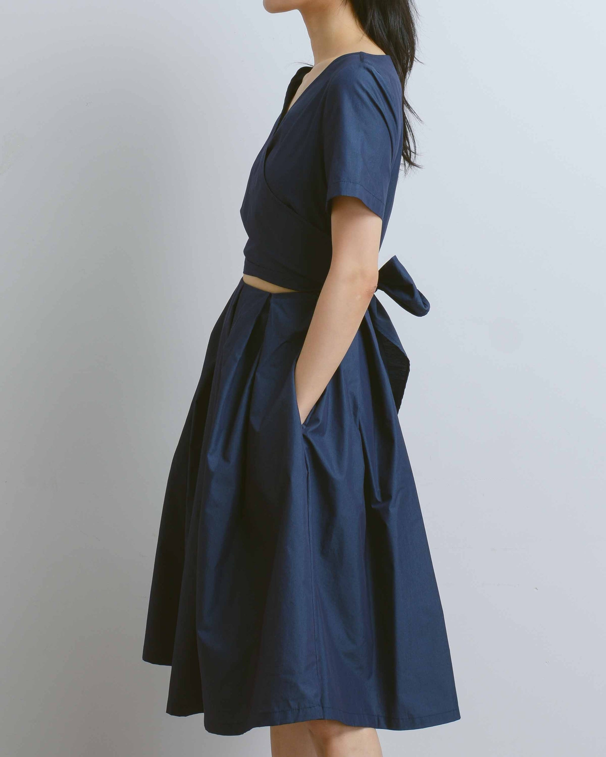 Navy Origami Wrap Dress