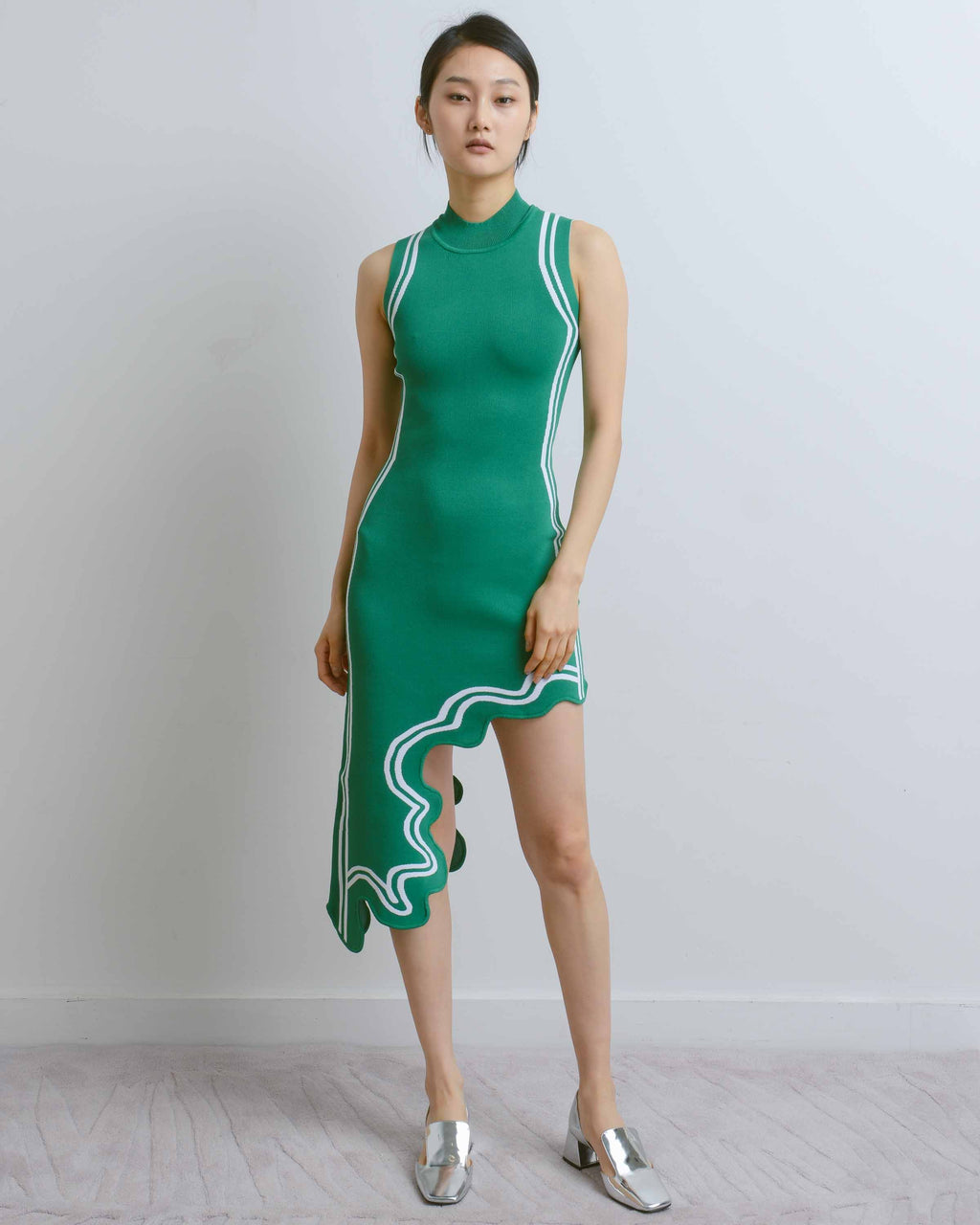 Green Frida Wavy Asymmetric Dress