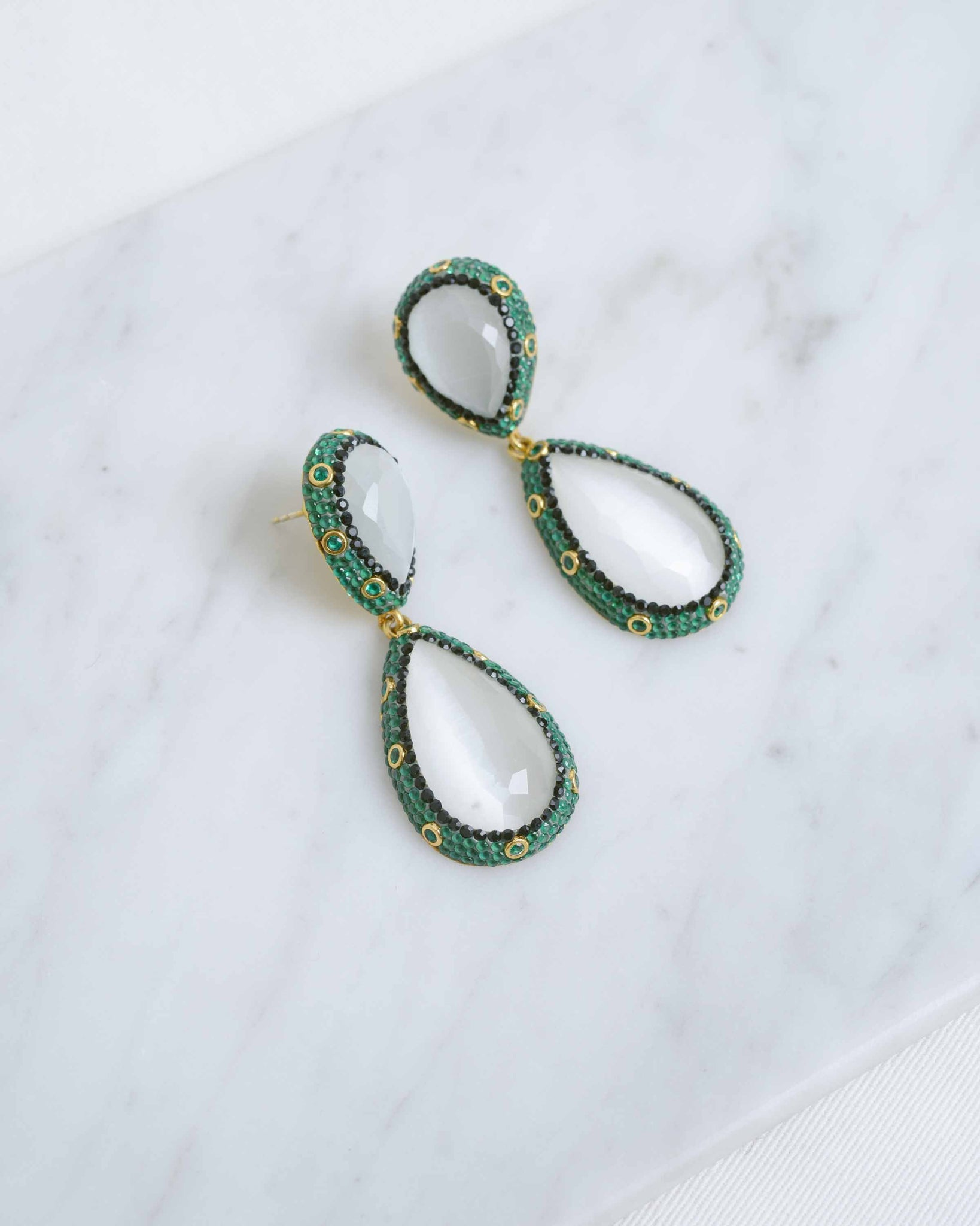 Gold & Emerald Border Earrings