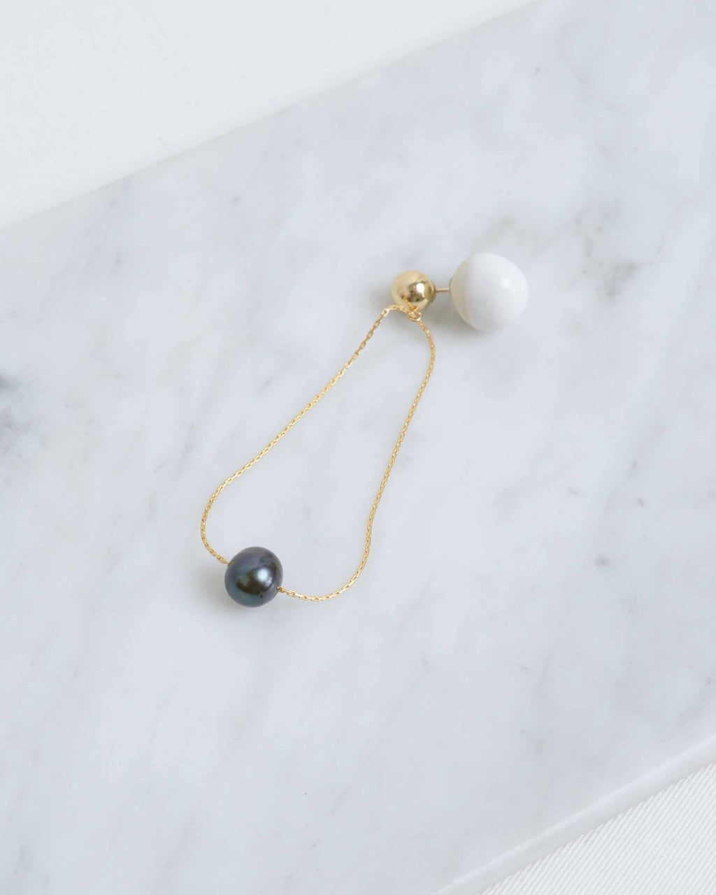 Gold Pearl Orbit Earring