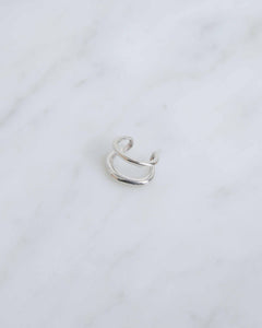 14k White Gold Twin Tusk Ear Cuff