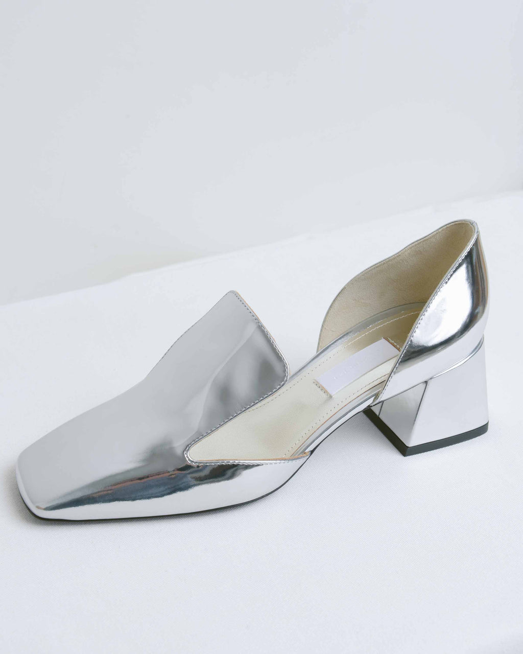 Silver Leather D'Orsay Pumps