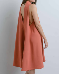 Coral Sleeveless V-Back Midi Dress