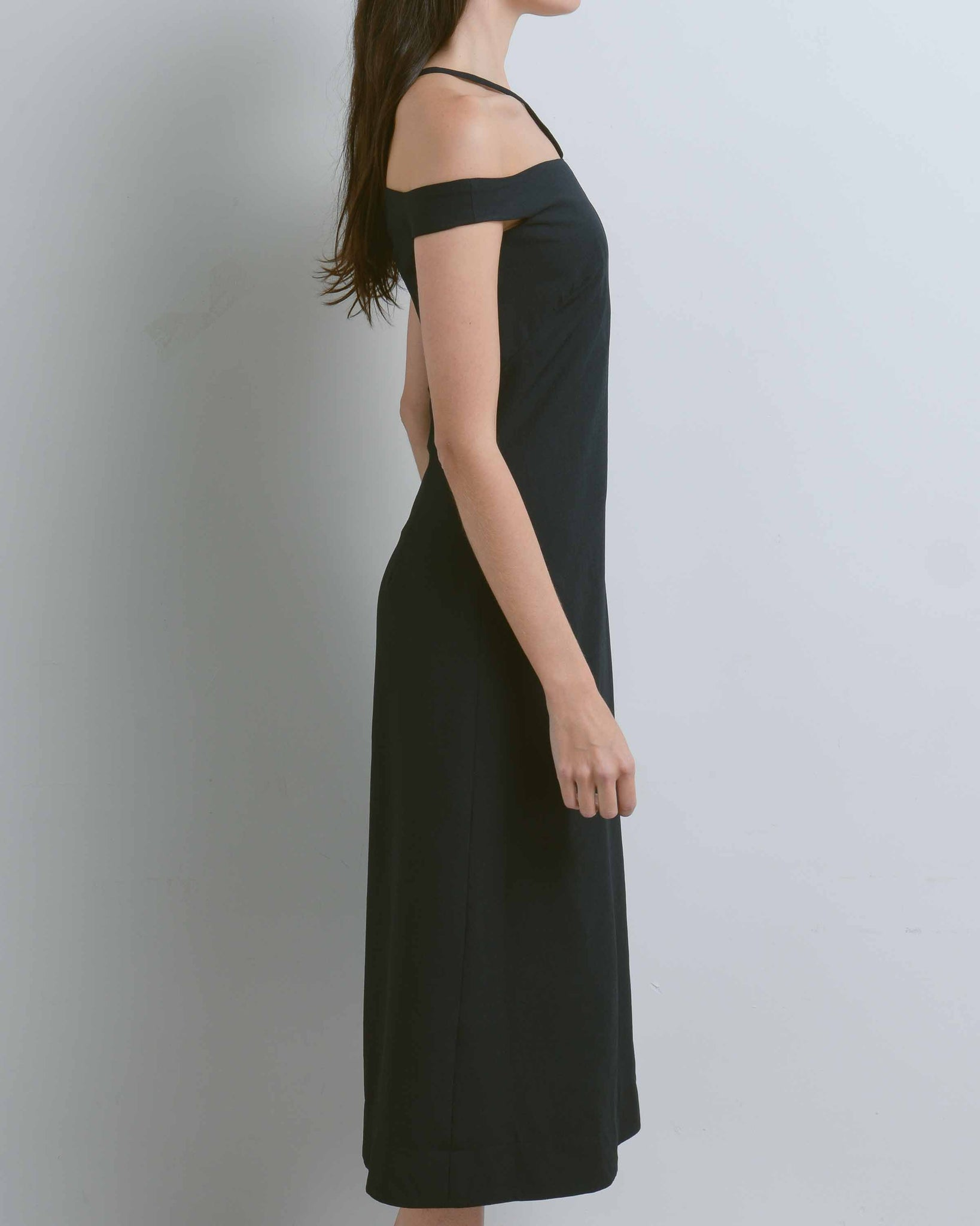 Black Asymmetric Off Shoulder Dress