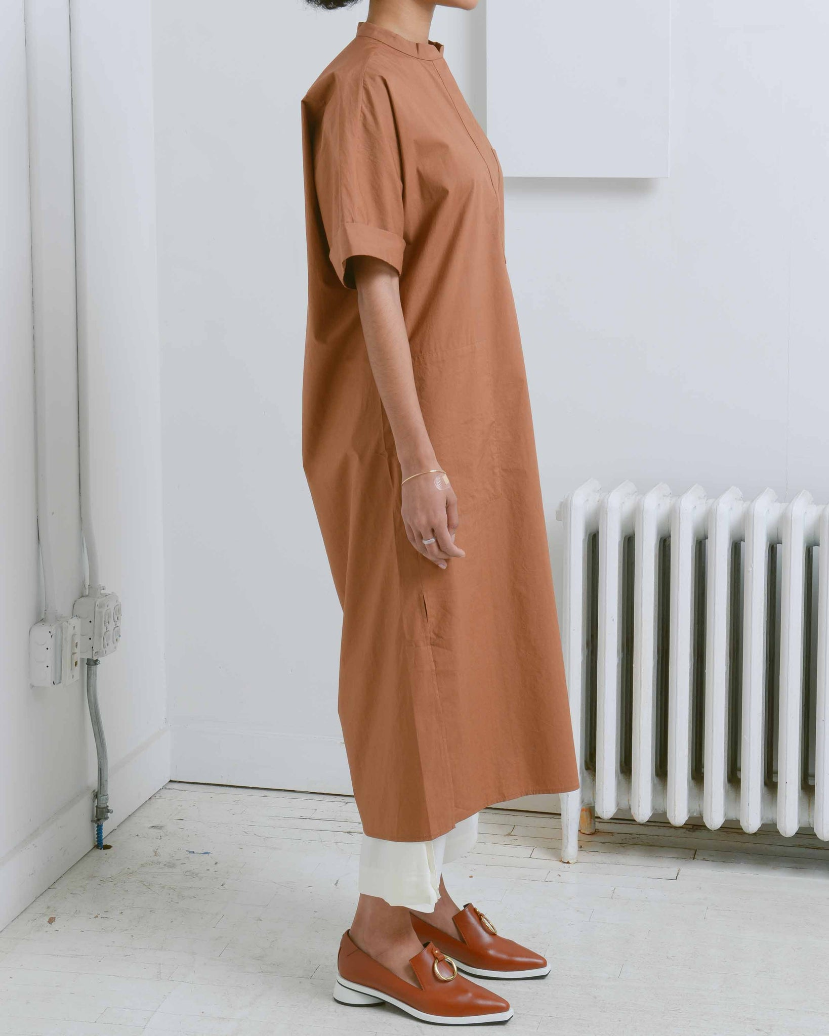 Brown Long Shirt Dress