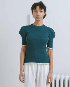 Forest Green Julia Puff Sleeve Pullover