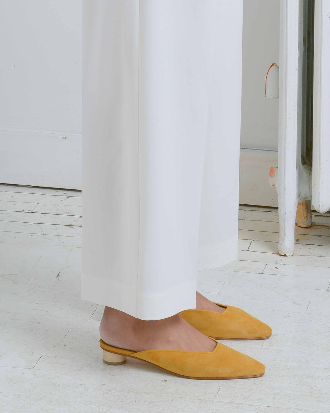 Yellow Suede Heeled Mule