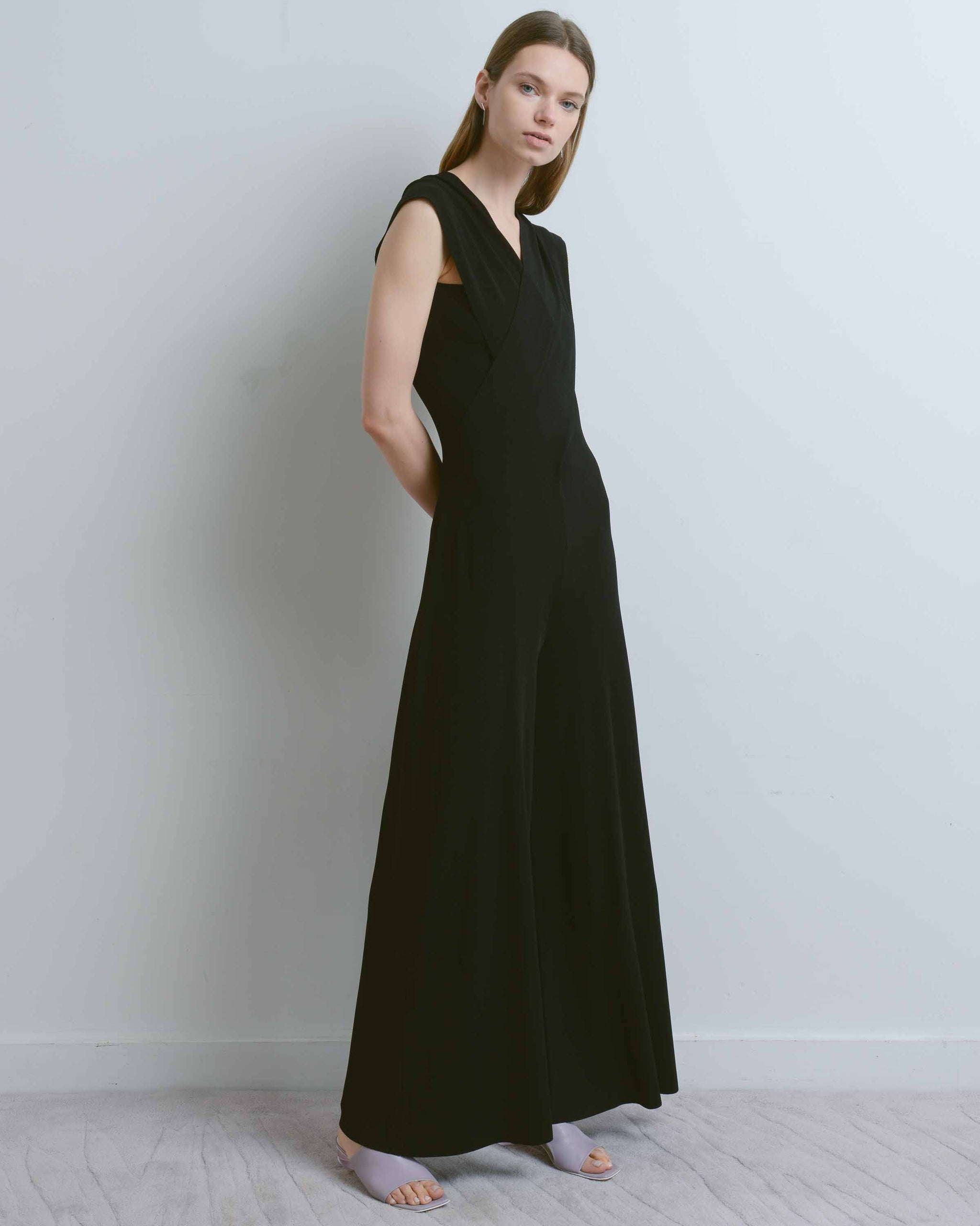 Black Lydia V-Neck Wide Leg Jumpsuit