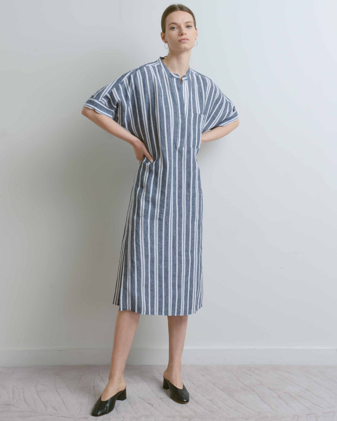 Navy Stripe Linen Long Shirt Dress
