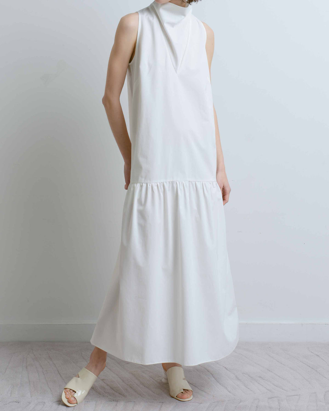 White Cowl Neck Dress