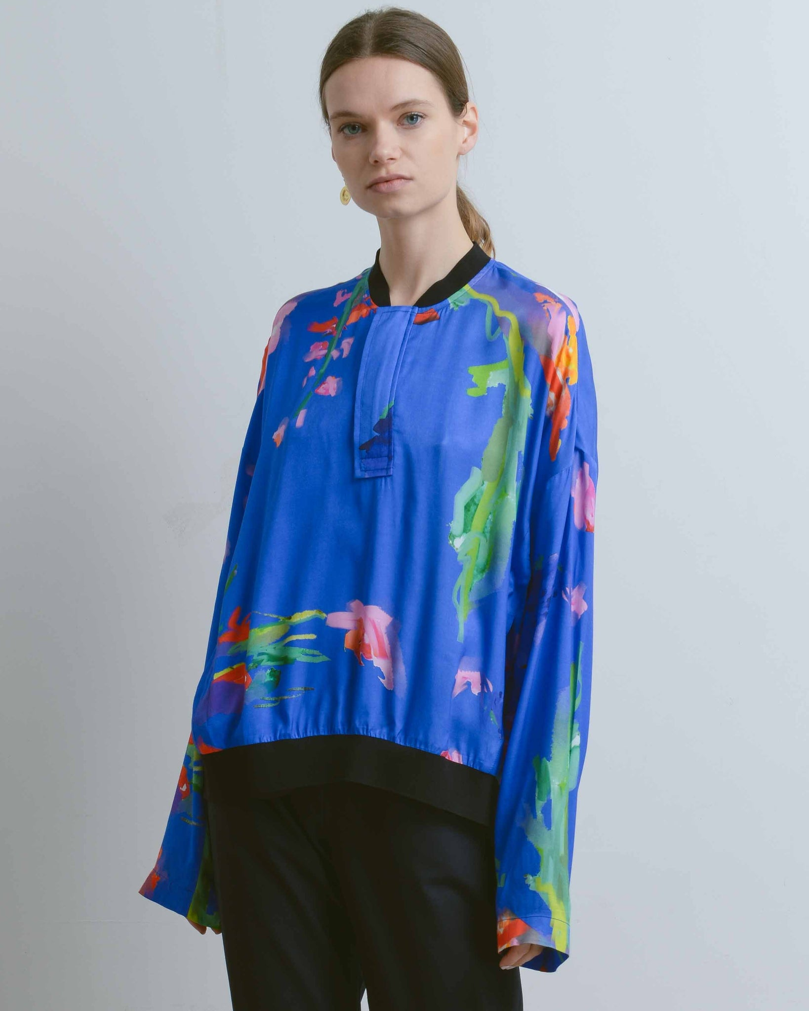 Blue Floral Siolim Long Sleeve Top