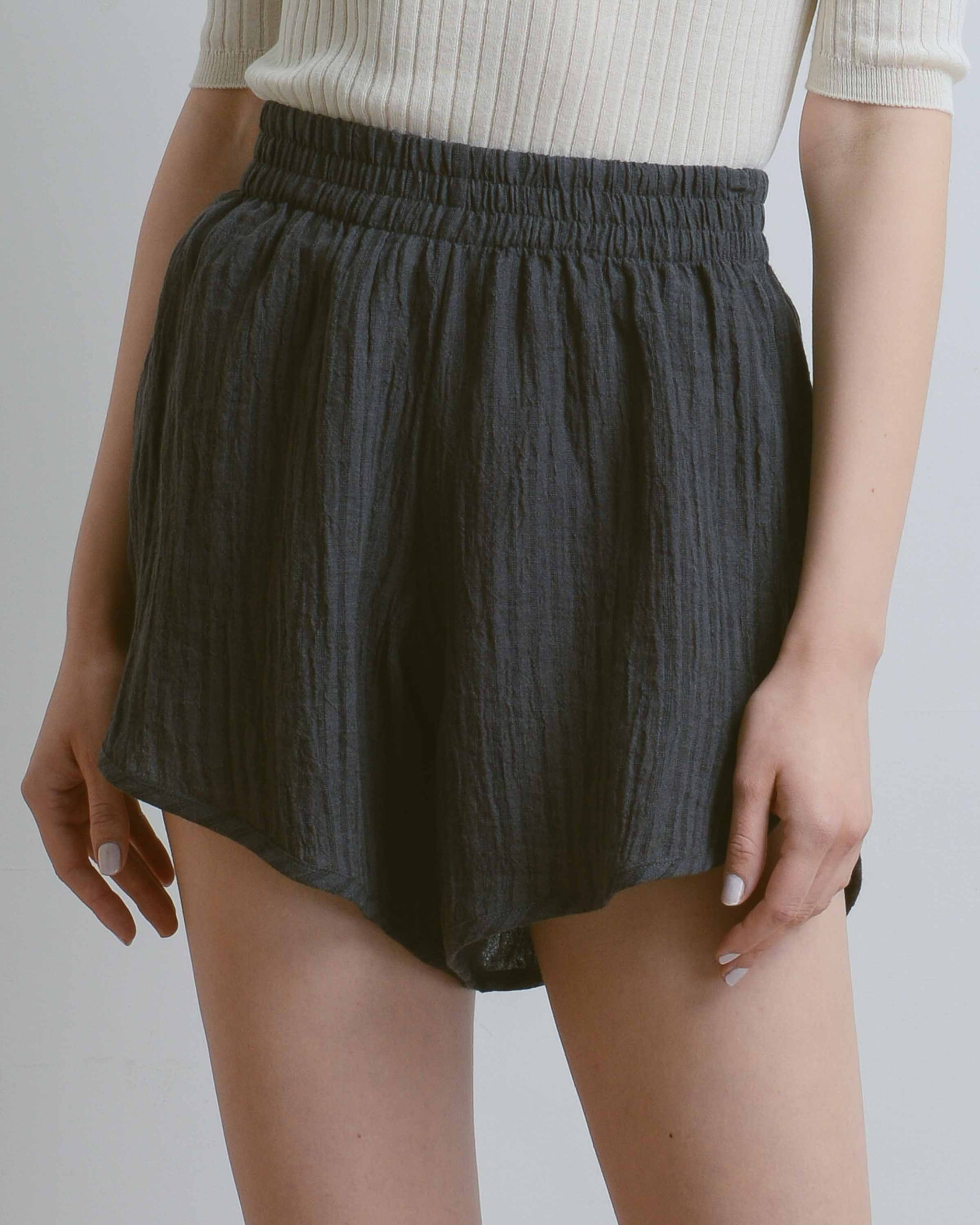 Charcoal Stripe Linen Terrain Shorts