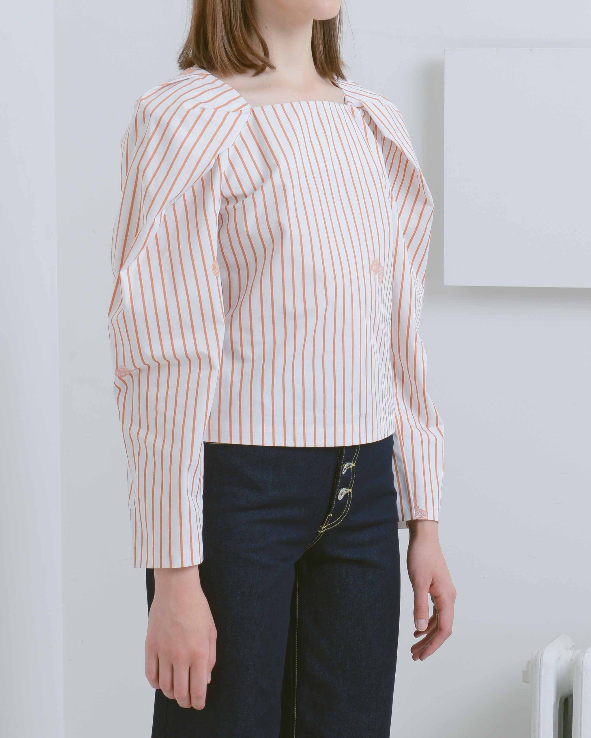 Striped Mignon Long Sleeve Top