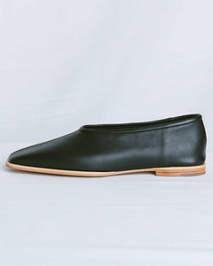 Black Square Toe Flat Shoes