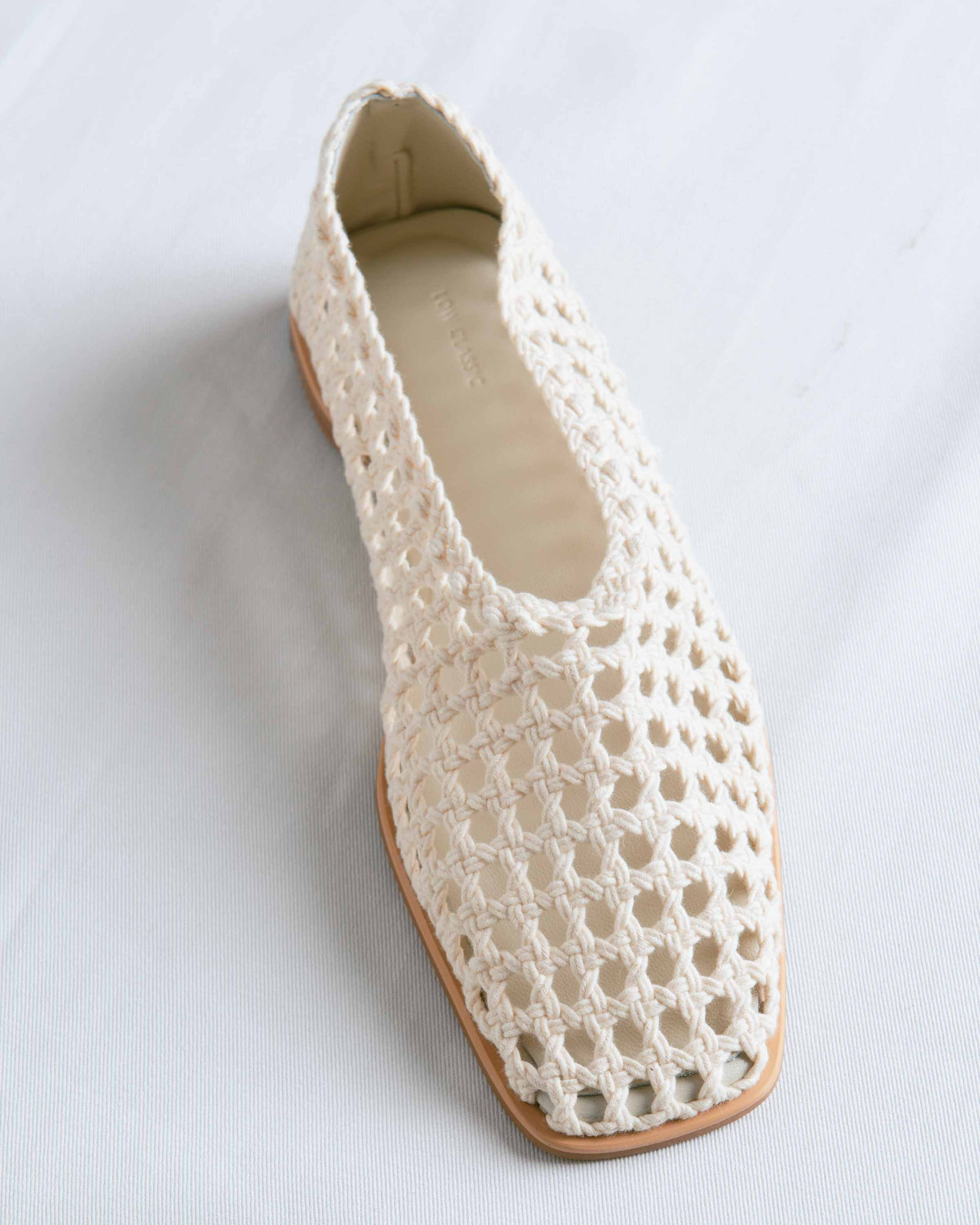 Beige Weave Cotton Flat Shoes