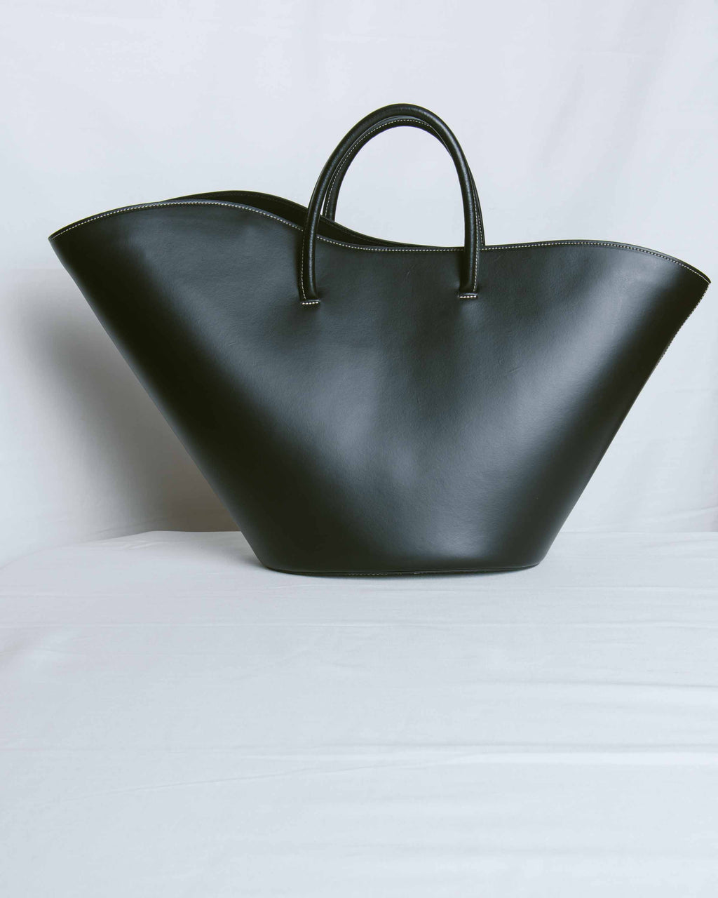 Black Calf Open Tulip Tote Large