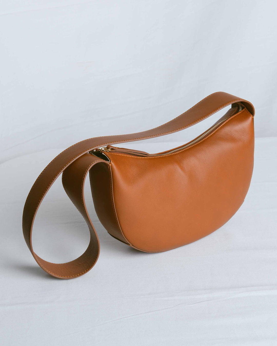 Brown Calf Banana Hobo Small