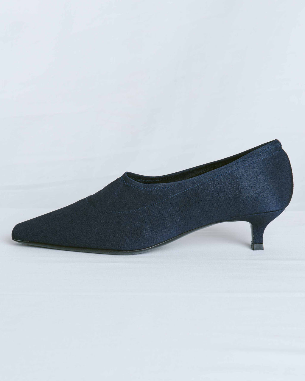 Navy Stretch Fabric Harper Heel
