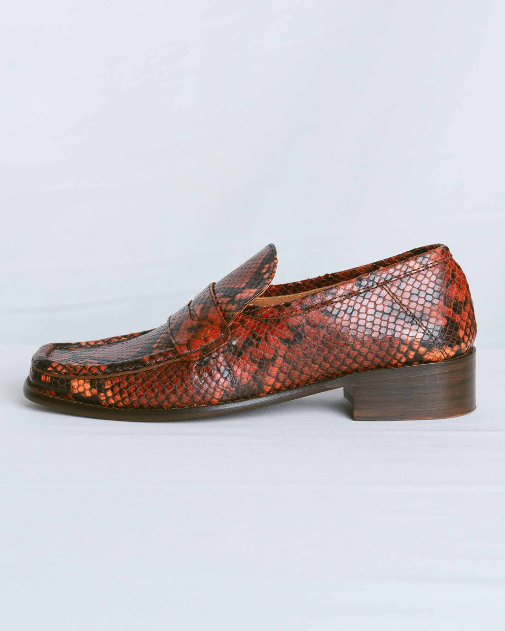 Burgundy Snake Print Leather Britney Loafer