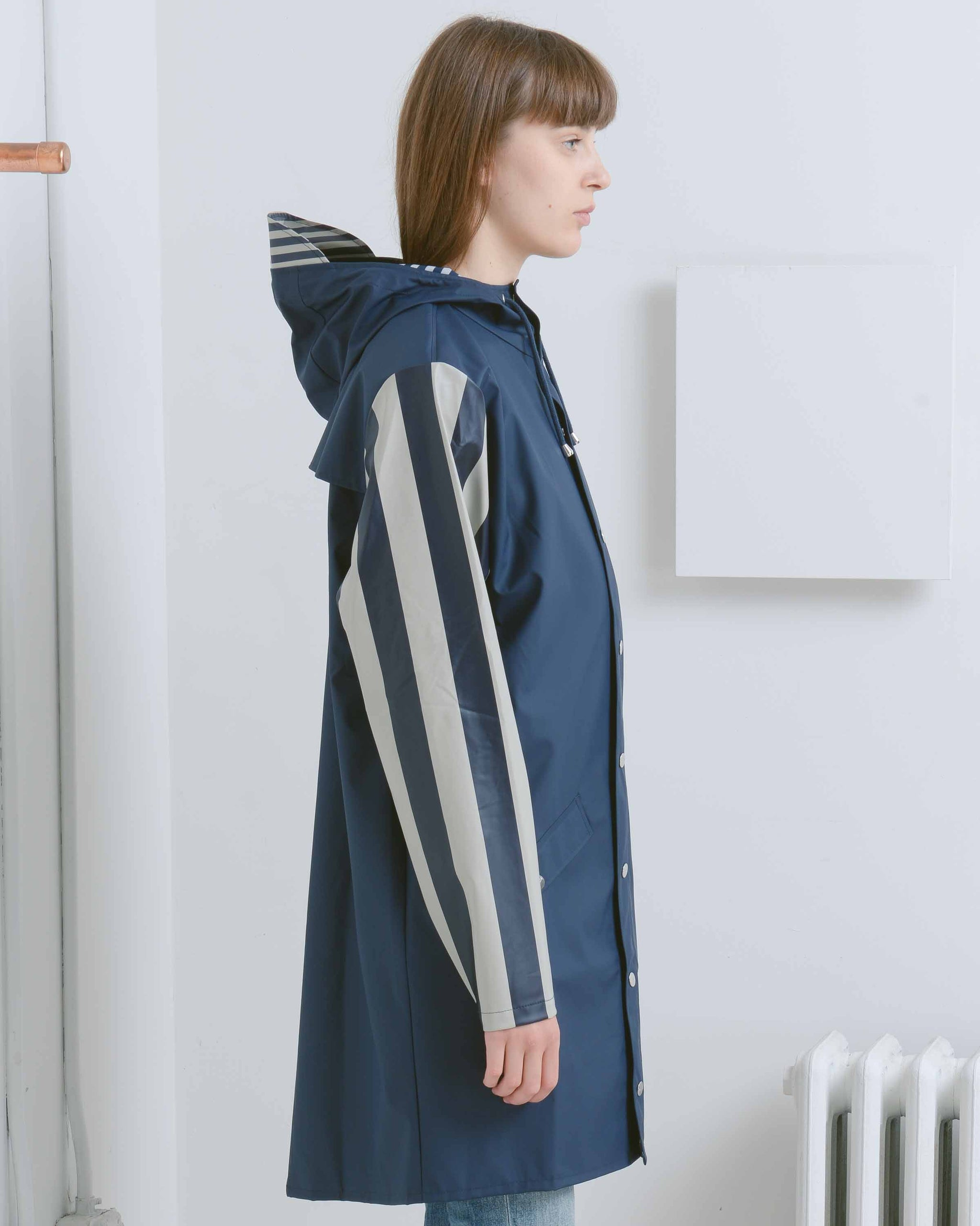 Distorted Stripes Long Jacket