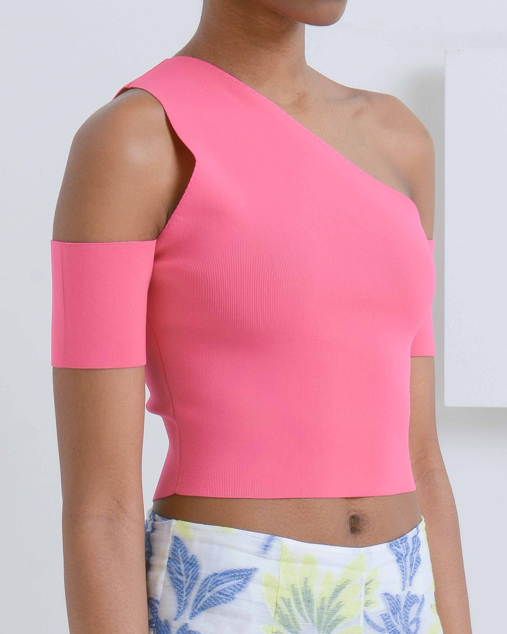 Fuchsia Kate One Shoulder Top
