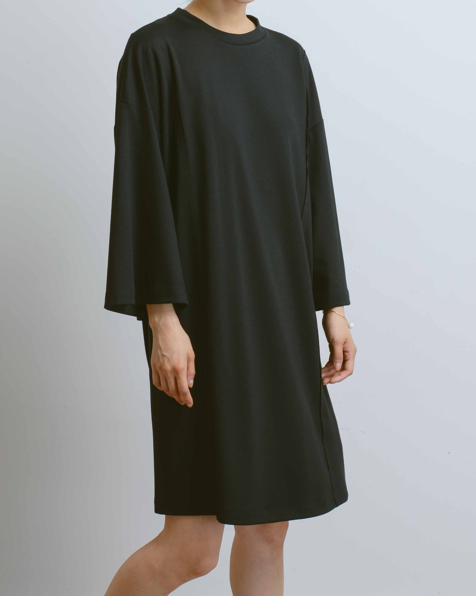 Black Longsleeve T-Shirt Dress with Back Seam