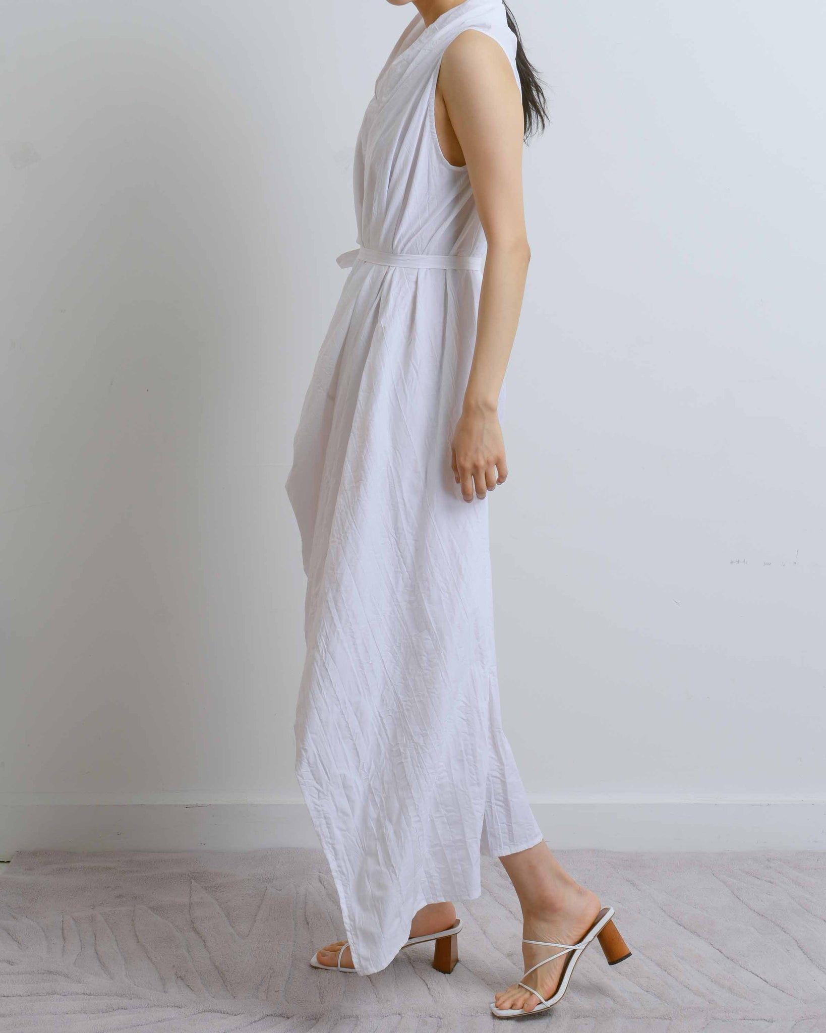 Asymmetrical Crinkled Drape Dress