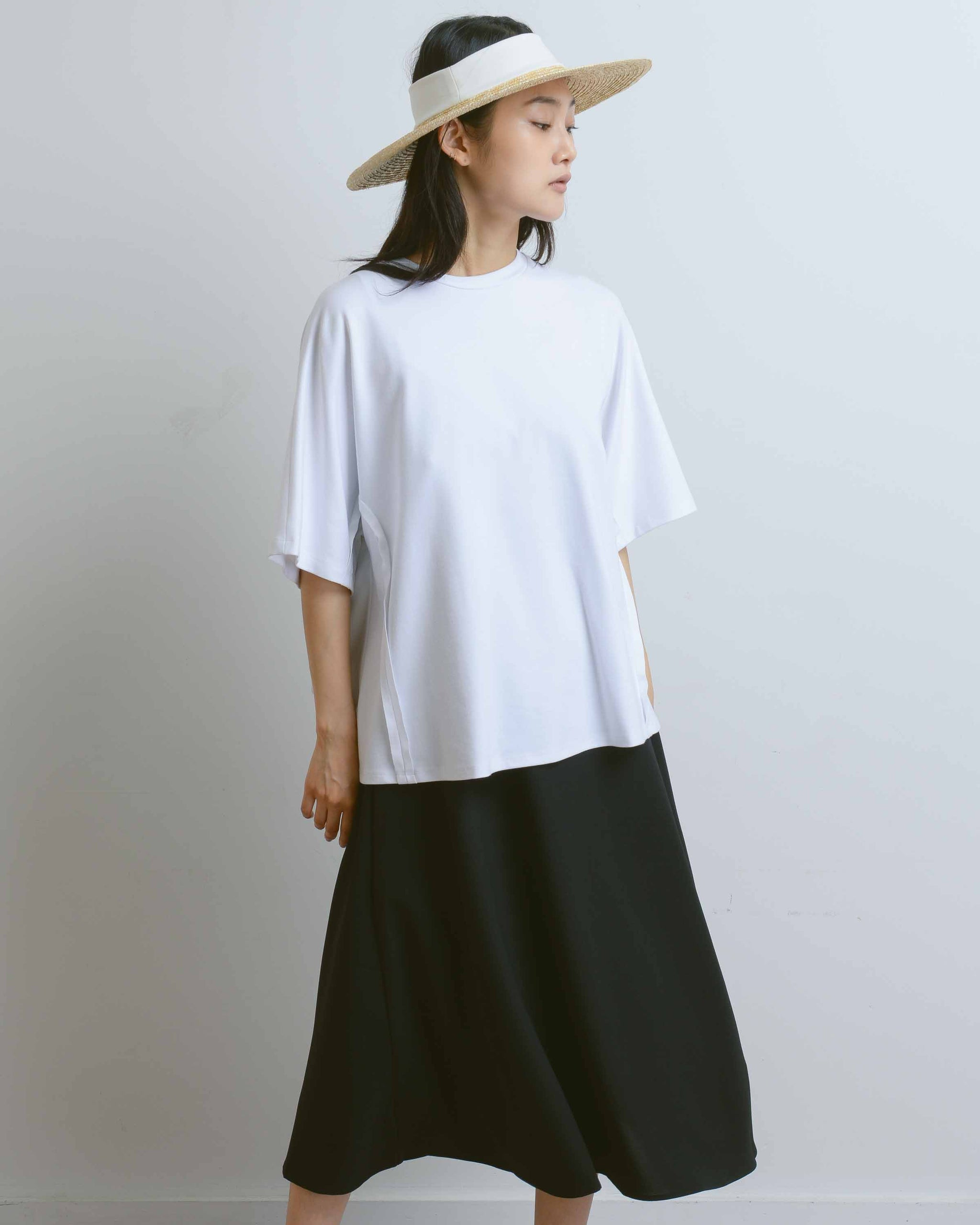 Back Stitch White Boxy T-Shirt