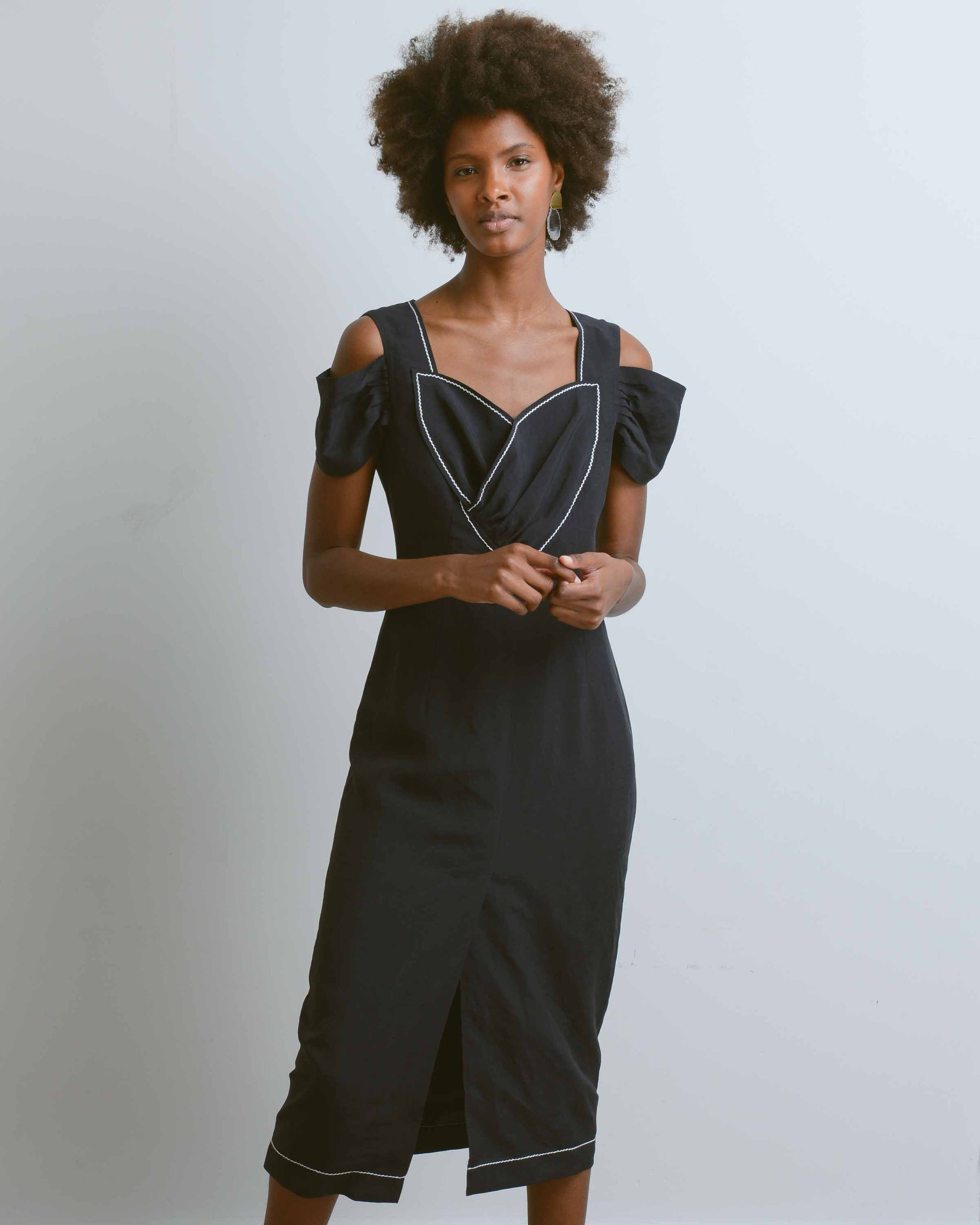 Black Linen Isabelle Dress