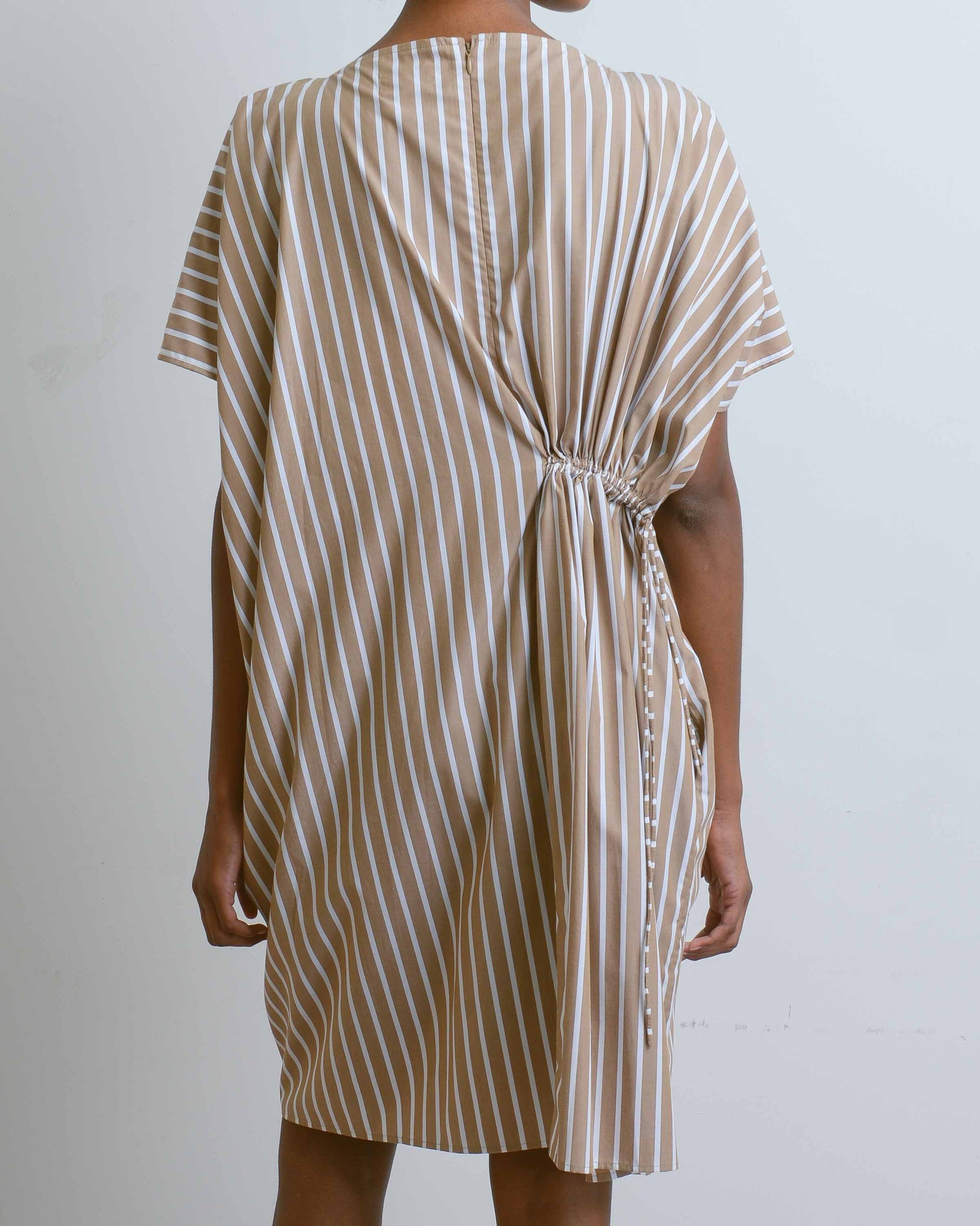 Brown Stripe Scarf Dress