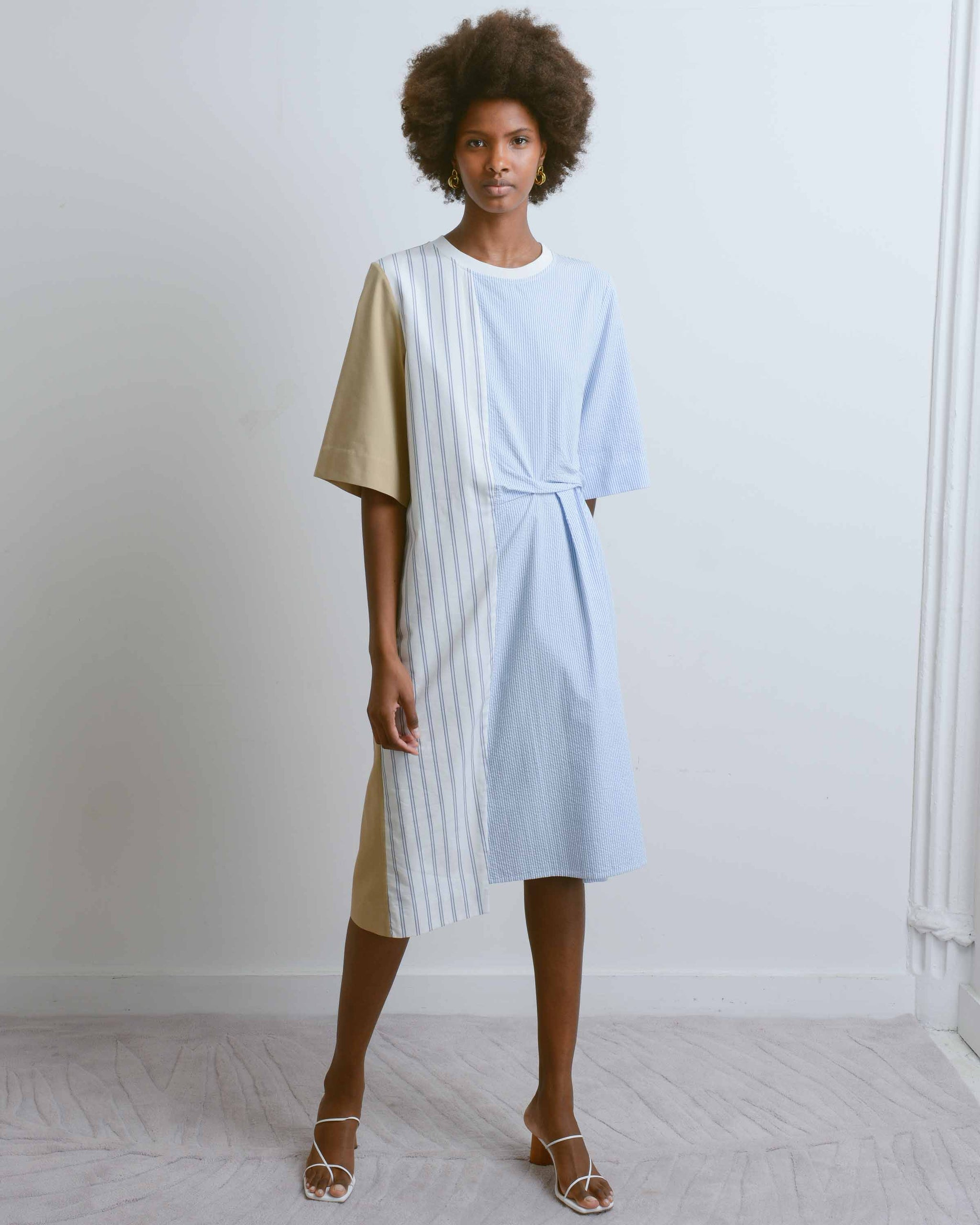 Blue Stripe Patchwork T-Shirt Dress