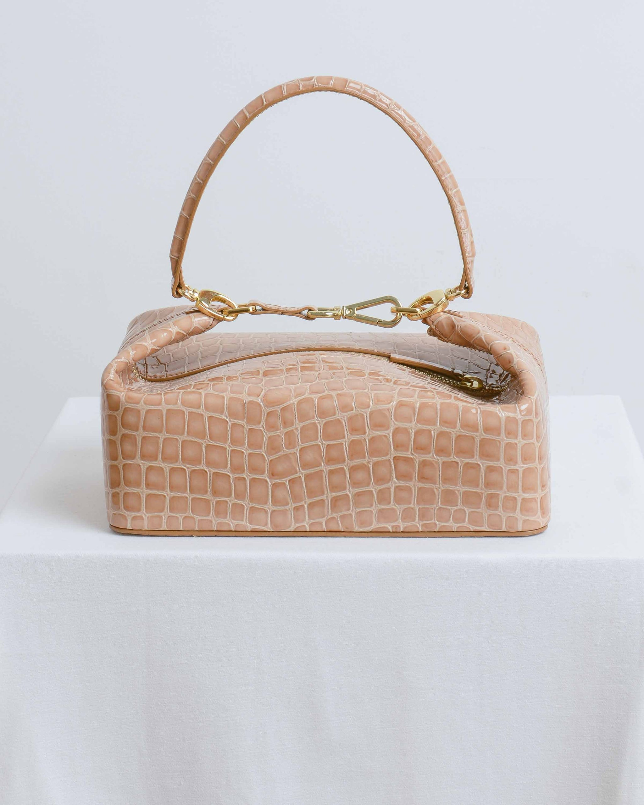 Taupe Embossed Leather Olivia Box Bag