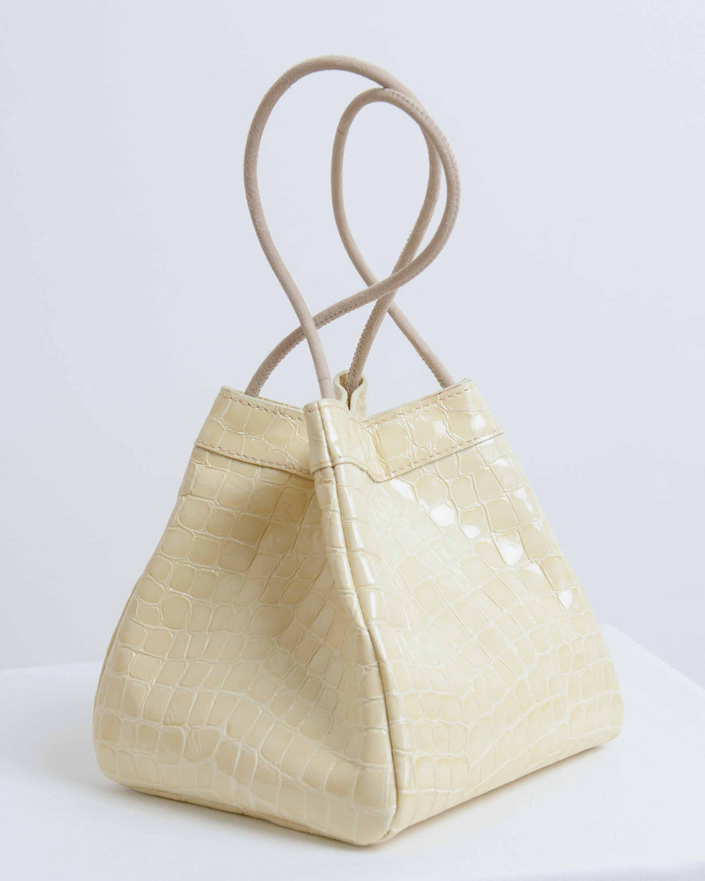 Cream Embossed Leather Rita Bag
