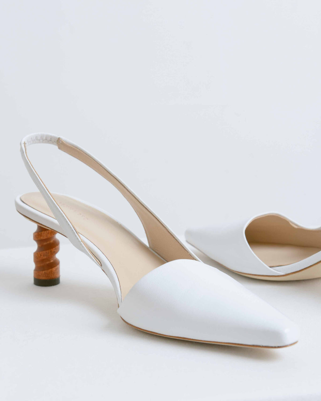 White Leather Joan Slingbacks
