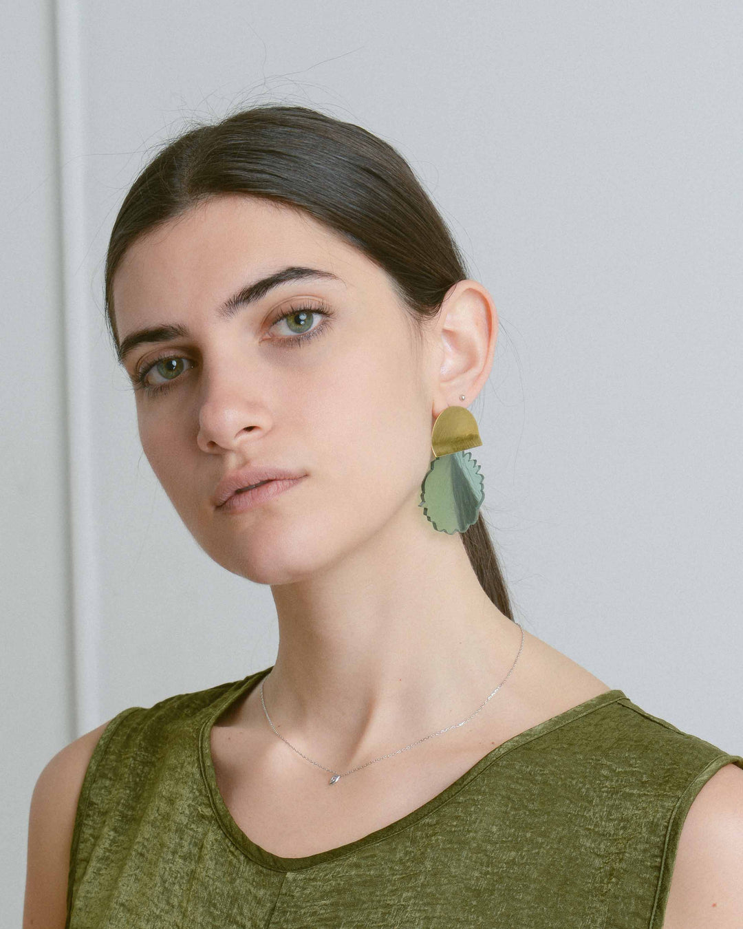 Green Acrylic Water Drop Earring