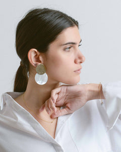 Pearl Disc Clip On Single Earring
